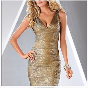 Bandage Style Metallic Slimming Dress