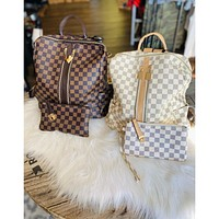 Libby Luxe Checkered Backpack Purse Set (Brown or Cream)