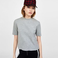 SOFT TOUCH T-SHIRT WITH FUNNEL COLLAR