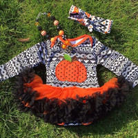 Girls Halloween Dress, Toddler Halloween Dress, Girls Pumpkin Dress, Toddler Jack-O-Lantern Dress, Girls Aztec Dress, Kids Halloween Outfit