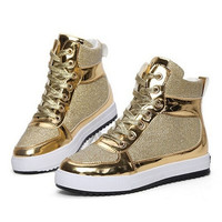 Spring new women's casual shoes high-top lace heavy-bottomed canvas shoes = 1947002244