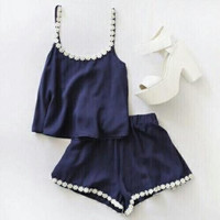 CUTE TWO PIECE ROMPER BLUE FLOWER
