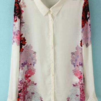 Chiffon Shirt with Rose Printing TJN657 from topsales