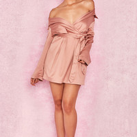 Clothing : Bodycon Dresses : 'Mena' Pink Champagne Satin Off Shoulder Coat Dress