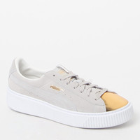 Puma Women's White Suede Platform Gold Sneakers at PacSun.com
