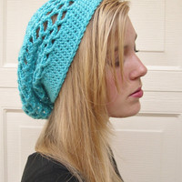 Turquoise slouchy hat, Spring Fashion 2015, summer hat, Boho Fashion slouchy hat, Hippie hat,  trends fashion slouchy hat