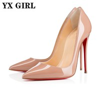 Red Bottom YX GIRL Brand Woman High Heels Pumps Red Bottom High Heels 12CM Women Shoes High Heels Wedding Shoes Pumps Black Nude Shoes 47