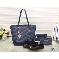 Samplefine2 MK Fashion Women Popular Shopping Bag Leather Tote Handbag Shoulder Bag Purse Wallet Single Shoe Set Four-Piece Blue I-KSPJ-BBDL