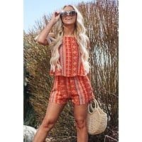 Travel The World Romper (Coral Multi)
