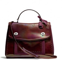 Coach :: New Poppy Editorial Victoria Satchel In Studded Leather