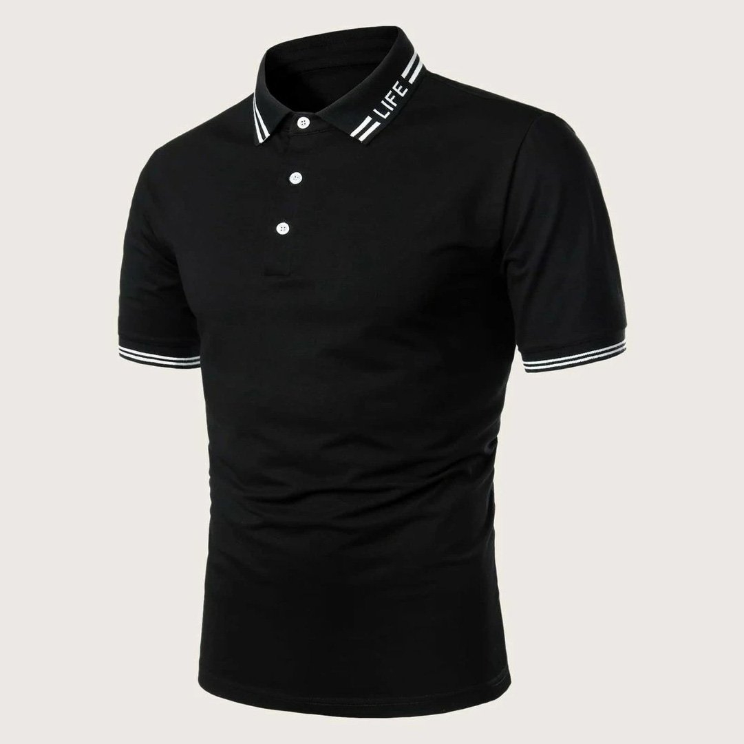 Image of Fashion Casual Men Striped Letter Graphic Polo Shirt