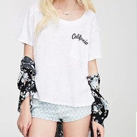 "White ""CALIFORNIA"" Print Short-Sleeve Shirt With Pocket"