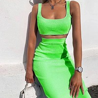 Knitted vest short Crop top Slim solid color high waist skirt two-piece suit Vertical embossing Flourescent green