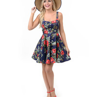 Navy & Red Rose Floral Sweetheart Flare Dress