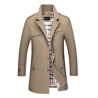 2017 New Casual Business Trench Coat for Men Khaki-windbreaker Single Breasted Casaca Hombre 4 Colors Plus Size M to 4XL