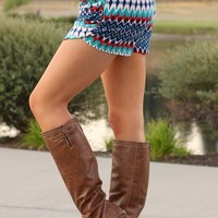 Aztec Jade & Red Print Harem Shorts