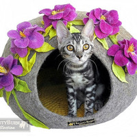 House Cat Spring mood - Cave for cats - Bed for cats - Gift for cats -  Eco-house -  Wool house - felt house - Flower house - for kittens