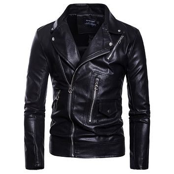 2018 New arrival Motorcycle Leather Jacket Men Casual Biker Jacket Slim Fit Zippers Male Faux Leather Jackets and Coats M-5XL
