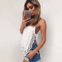 Fashion sexy straps lace splicing side open top