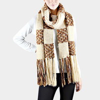 Oversized Ombre Check Pattern Knit Tassel Scarf - Cream