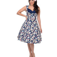 1950s Style Dark Blue Floral Ophelia Swing Dress