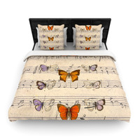 """Suzanne Carter """"Butterfly Opera"""" Music Tan Woven Duvet Cover"""