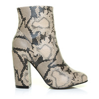 KELLY Beige PU Snake Leather Classic Round Toe Ankle Boots with Inside Zip