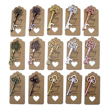 50pcs DIY Wedding Decoration 5 Colors Vintage Key Bottle Opener with Thank You Paper Tags Wedding Party Deco Favors and Gifts FREE SHIPPING