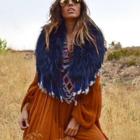 Fur Collar with Fringe in Blue