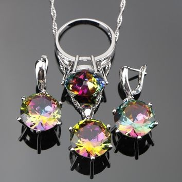 3PCS Ladies Magic Rainbow Stones Jewelry Sets Silver 925 Jewelry For Women Wedding Jewelry With Pendant/Necklace/Ring/Earrings
