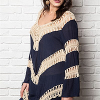 curves knit crochet tunic in navy