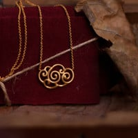 Cloud Inspıred,925k silver,Gold filled,Hand textured Necklace