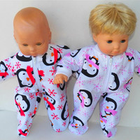"""American Girl Bitty Baby TWINS Pajamas Clothes 15"""" Doll Clothes  boy & girl Pink Red White Black Penguin Print Flannel Zip Feetie Sleeper"""