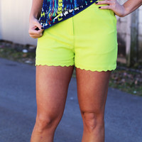 Scalloped Shorts {Lime}
