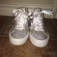 Custom Bling/Sparkle Silver All Star Converse