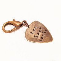 """Pink Floyd Metal Guitar Pick """"Two Lost Souls"""" Keychain, Hand Stamped"""