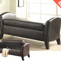 A.M.B. Furniture & Design :: Bedroom furniture :: Bedroom Benches :: Stylish dark brown leather like vinyl upholstered storage bench with arms and wood feet