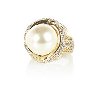 River Island Womens Gold tone large pearl ring