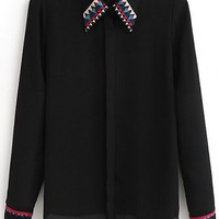 Tribal Embroidered Chiffon Shirt