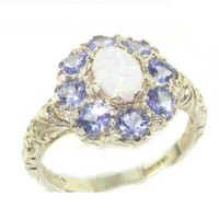 Solid English Sterling Silver Womens Large Opal & Tanzanite Art Nouveau Ring - Size 7 - Finger Sizes 5 to 12 Available