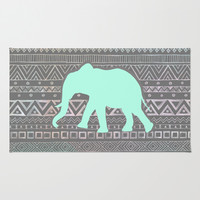 Mint Elephant  Area & Throw Rug by Sunkissed Laughter