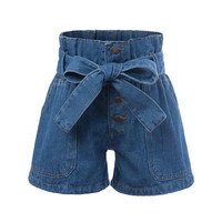 Summer Waistband With Pocket Denim High Rise Pants Shorts [4917776708]