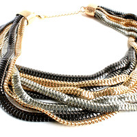 """Miss Independent"" Tri Color Statement Necklace"