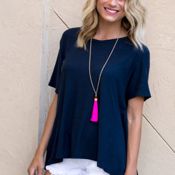 Back To Basic Baby Doll Top- NAVY