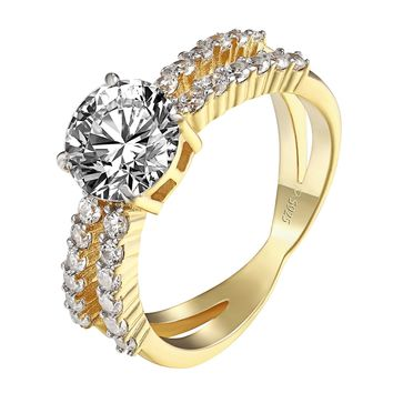 Solitaire Round Cut Ring 14k Gold Over 925 Silver Infinity Style Band Wedding