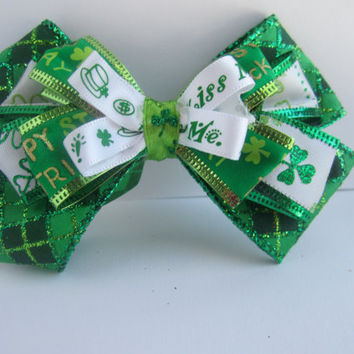 St. Patricks Day Four Leaf Clover Green Sparkley Hair Bow w/ White and Green