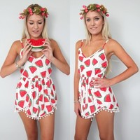 WATERMELON POM POM WRAP CROSSOVER LOW BACK SLOUCH PLAYSUIT JUMPSUIT 6 8 10 12