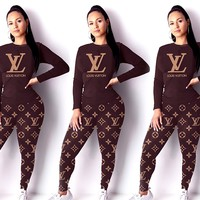 LV classic old flower women's wild sports suit two-piece