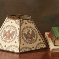 Vintage Lamp Shade with Eagles, Early American Style with American Eagles