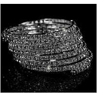 Racquel Eight Rows Wrap Cuff Bracelet | Rhinestone